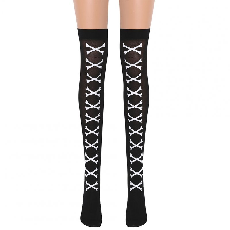 Skull Pattern Printing Socks Over Knee Stocking for Halloween Make Up Party Prop 2# (white bones)_One size