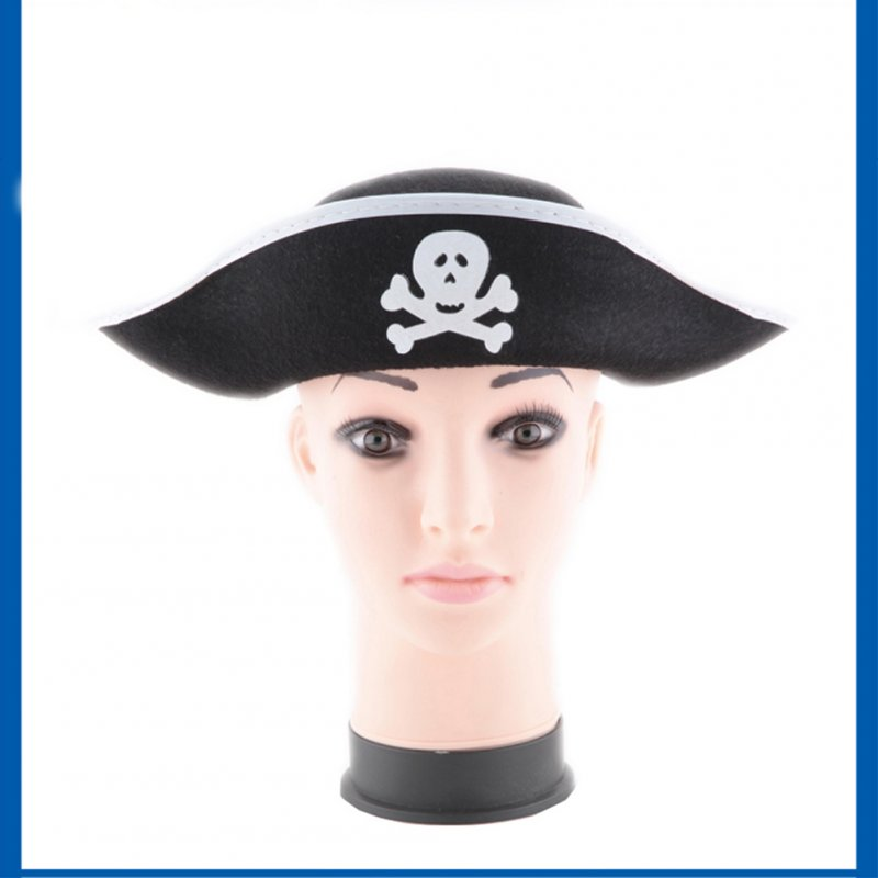 Skull Print Pirate Captain Hat, Christmas Halloween Masquerade Party, Flat type Pirate Hat Performing Props