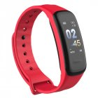 Smart Bracelet Color screen Fitness Tracker Blood Pressure Heart Rate Monitor Sleep Tracker Wristband for Android IOS red