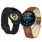 Smart Watch L7 Blood Pressure/Bluetooth/GPS/Sleep Monitor Men Women Watch Brown leather