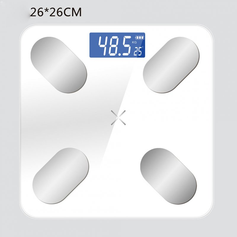 Smart Weighing Scale Digital Bluetooth Voice Body Fat Weight Scale 26X26 white_Battery