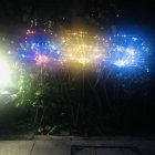 Solar Powered Lawn Light Fireworks Copper Lamp String Waterproof Lamp for Christmas 2 mode 150LED color