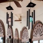 Solar Powered Wind Chimes Light Waterproof Outdoor Garden Decoration Lamp black