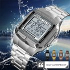 Sports Watch Men Luxury Watches Waterproof Military LED Digital Wristwatch   Silver