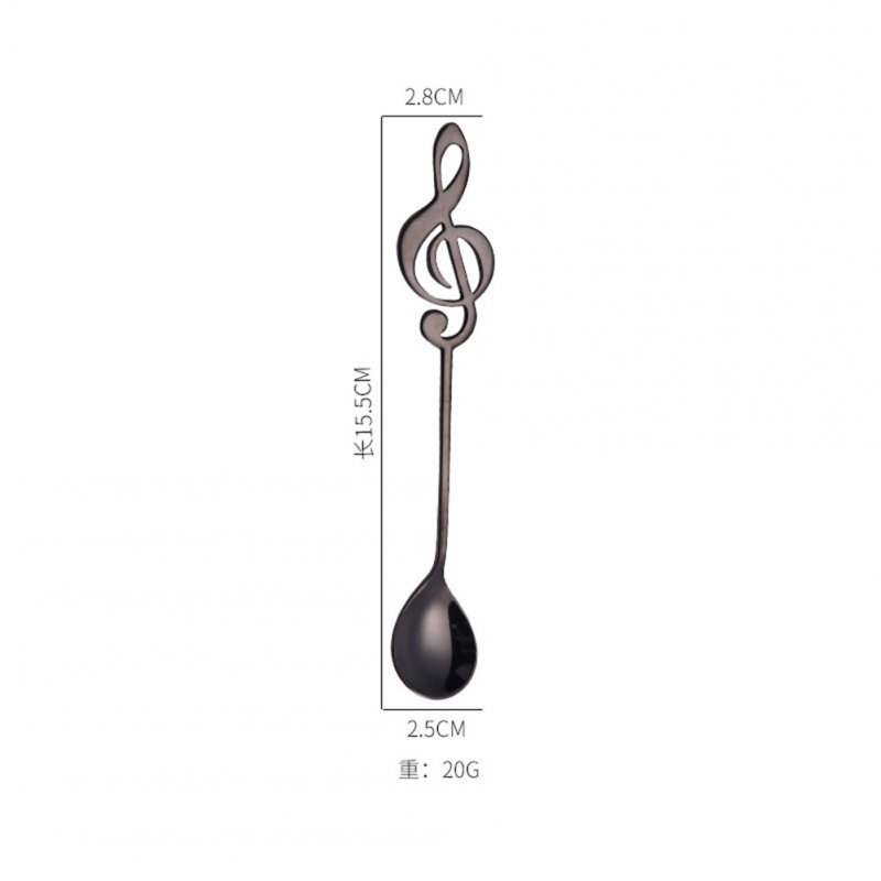 Stainless Steel Cute Music Note Shape Coffee Mixing Spoon  black