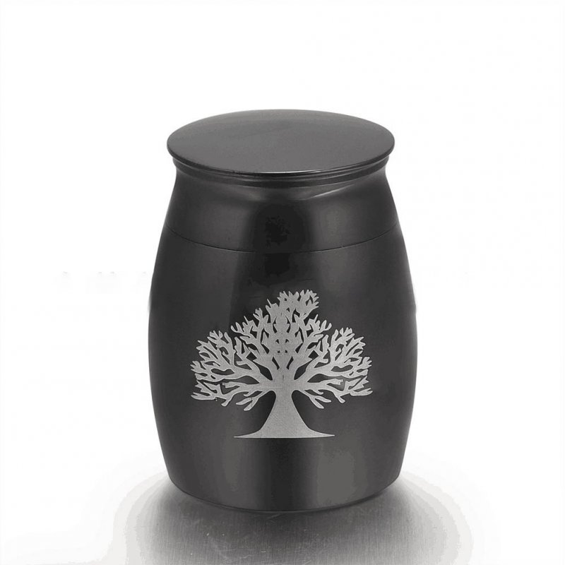 Stainless Steel Funeral Urns for Pet Dogs Cats Ashes Keepsake Miniature Burial Funeral Urns 40 * 29mm black tree of life