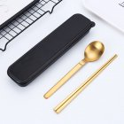 Stainless Steel Portable Cutlery Spoon Chopsticks Fork Travel Camping Dinnerware Gold