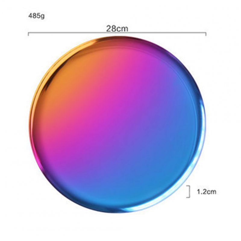 Stainless Steel Rainbow Round Serving Tray Dinner Serving Dish Cosmetics Jewelry Organizer  color