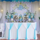 Stripe Style Table Skirt for Round Rectangle Table Baby Showers Birthday Party Wedding Decor White blue_L6(ft)*H30in