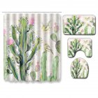 Succulent Plants Pattern Shower Curtain + Floor Mat +Toilet Seat Cover+ Foot Pad Set 180*180 shower curtain +45*75 three-piece floor mat set