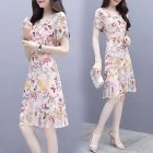 Summer Women Fashion Elegant Slim Flower Printing Short Sleeve Dress Photo Color_L