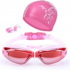 Swimming Accessories  HD Waterproof Anti Fog Swimming Goggles Swim Cap Set   UV Protection Anti Shatter Lenses pink