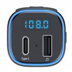T46 Car Bluetooth MP3 Player Car Kit QC3.0 Quick-Charging LED Backlit Wireless Bluetooth FM Transmitter Car Music Player Type-C