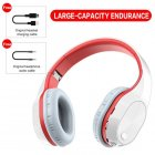 T5 Wireless Bluetooth Headset Foldable Head-mounted Headset Running hanging ear stretch computer game headset White red