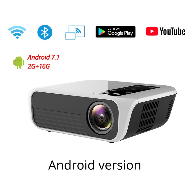 T500 Android Smart Portable Digital Projector WIFI Home Use 1080P High Definition Projector white_US Plug-Android