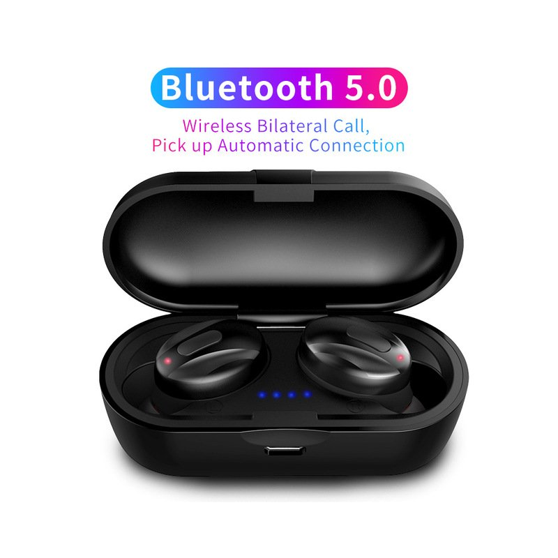 TWS V5.0 Handsfree Headsets Bluetooth Headsets Dual Stereo Headset for iphone All Smartphones black
