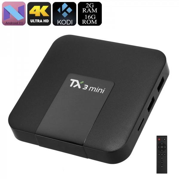 Tanix TX3 Mini TV Box - Android 7.1, Quad-Core, WiFi, Bluetooth, 4K Support, Google Play, Kodi TV, DLNA, 2GB RAM
