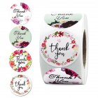 Thank You Sticker Label with 4 Garlands Pattern for Envelope Sealing Decor As shown 1inch 25mm