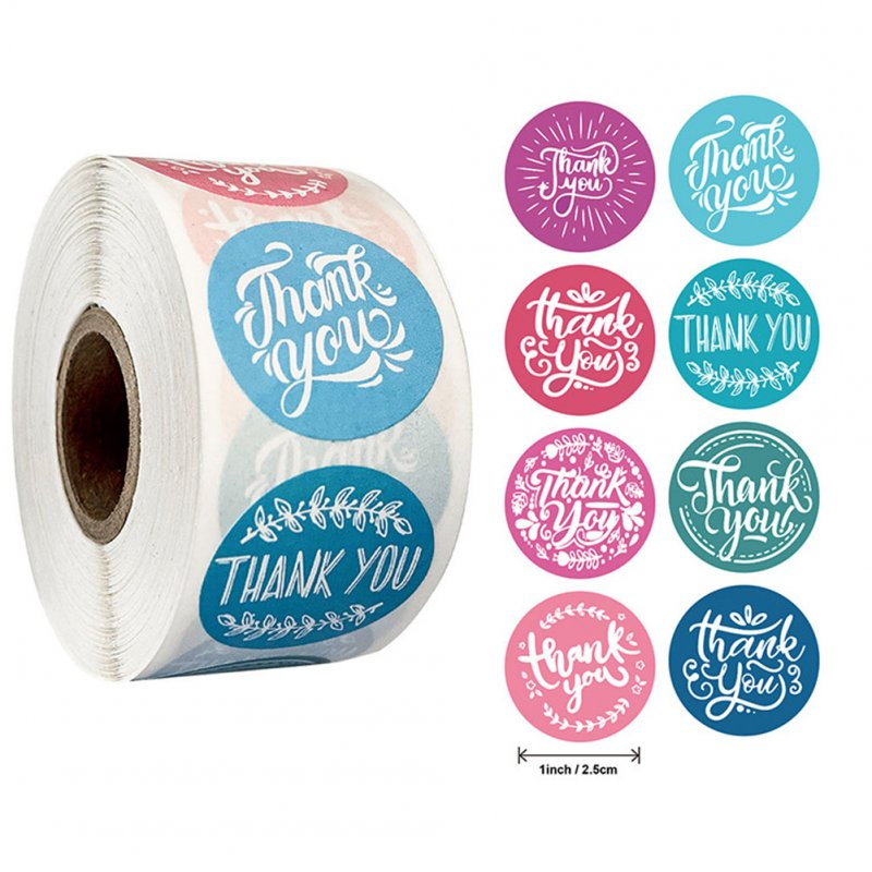 Thank You Stickers Roll 8 Designs Garland Pattern Lapel for Baking Gift Packaging Decor As shown_25mm (1 inch)