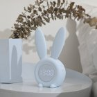 Thermometer Temperature Display Rechargeable Night Light Digital Snoozing Multifunctional Alarm Clock Rabbit Shaped blue_1W