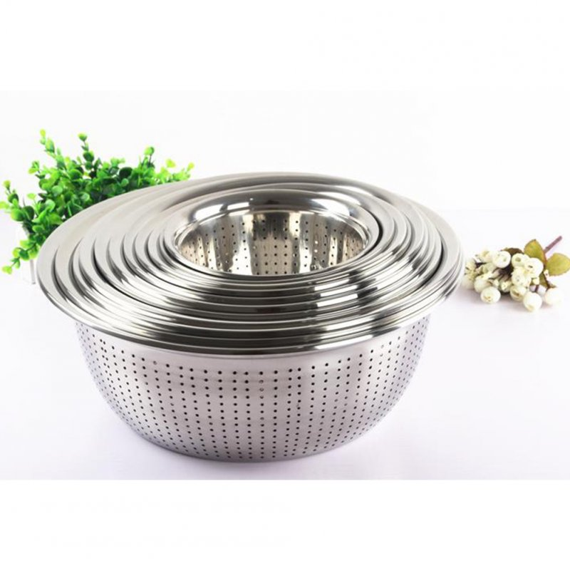 Thicken Stainless Steel Rice Washer Drain Basket for Kitchen Vegetables Washing Storage 20cm