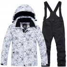 Thickened Outdoor Suit Warm and Cold-proof Ski Outfits Waterproof Winter Children's Ski Wear White top + black pants_L