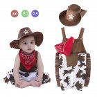 Toddlers Kids Infants Baby Boy Rompers Tassels Trim Strap Jumpsuit + West Cowboy Hat + Triangle Scarf