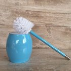 Toilet Brush with Stainless Steel Circular Base for Bathroom Toilet Cleaning blue