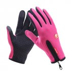 Touch Screen Full Finger Winter Sport Windstopper Ski Gloves Warm Riding Glove Motorcycle Gloves  pink XL