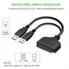 USB 3.0 To SATA 7+15 Pin Adapter Cable for 2.5 Inch HDD SSD 20/25CM black