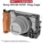 UURig C-RX100 VII Vlog Camera Cage for 7RX100 VII Case With Wood Handle Handgrip Dual Cold Shoe Mount Camera Studio Accessories black