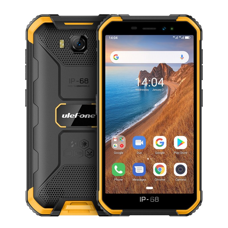 Ulefone Armor X6 Phone 5.0inch HD Screen 2G RAM+16GB ROM Memory 5MP+8MP Camera 4000mAh Battery Android 9.0 OS yellow