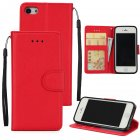 Ultra Slim PU Full Protective Cover Non-slip Shockproof Cell Phone Case with Card Slot for iPhone 5G/5S/5SE red