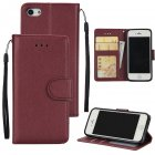 Ultra Slim PU Full Protective Cover Non-slip Shockproof Cell Phone Case with Card Slot for iPhone 5G/5S/5SE Red wine