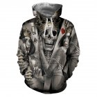 Unisex 3D Crown Skull Pattern Hoodies Couples Fashion Hooded Tops Baseball Sweatshirts as shown_M