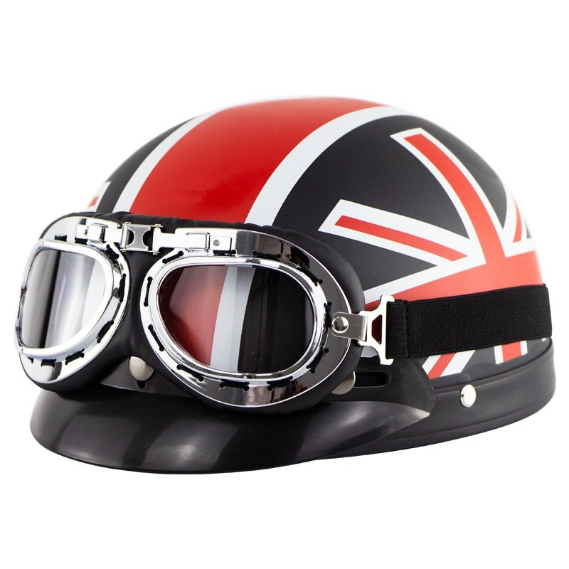 Unisex Cute Motorcycle Helmet Bike Riding Protective Strong Safety Half-face Helmet with Goggles Matte black cross pattern_One size