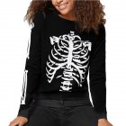 Unisex Halloween Long Sleeve T-shirt Scary Skeleton Loose Printing Fashion Tops black_M