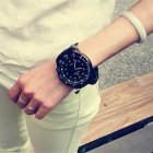 Unisex Sports Watches Outdoor Fashion Quartz Watch Large Round Dial Wristwatch black