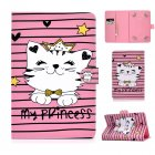 Universal Laptop Protective Cover Color Painted 8 Inches PU Case with Front Snap Crown cat