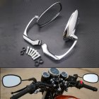Universal Motorcycle CNC Chrome Black Ellipse Rearview Side Mirrors Handle Bar End Mirrors 8mm 10mm For Street Bike Silver