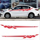 Universal Plaid Flag Side Skirt Car Decoration Sticker red