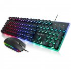 V300 Backlight Keyboard RGB Glowing Mouse Suit for Game Home Office Laptop Desktop Ergonomic English suit