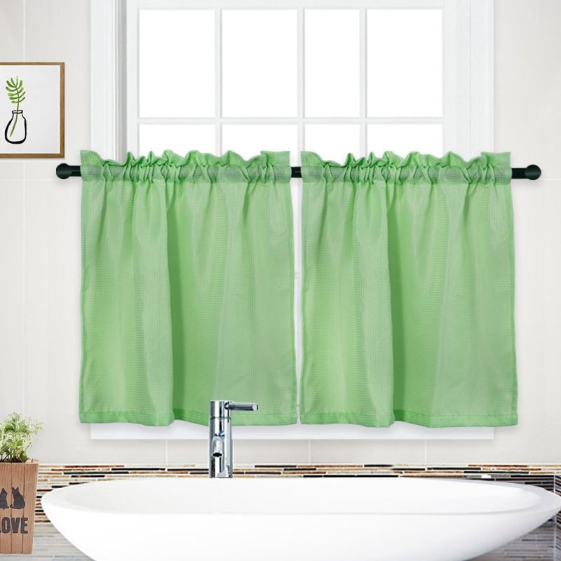 [US Direct] Waffle Kitchen Tier Curtains Short Length Water Repellent Rod Pocket Half Window Covering Curtain for Bathroom Bedroom (30*24inch/30*36inch, 1 Pair)