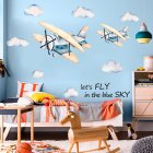 Watercolor Airplane Pattern Wall Sticker Kids Baby Rooms Home Decoration Nursery Wallpaper 45 * 60cm * 2pcs