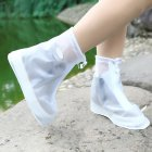 Waterproof Shoes Cover Reusable Rain Snow Boots Wear resistant Slip Resistant Overshoes Covers for Men   Women WhiteL