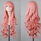 Wavy Hair Cosplay Long Wigs for Women Ladies Heat Resistant Synthetic Wig Smoke pink