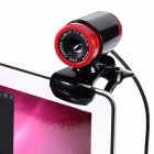 Webams HD Computer Camera with Absorption Microphone for Skype Android TV Web Cam Black   red