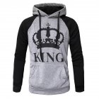 Wen and Women Couple Hooded Black and White Loose Pullover Shirt Light gray-KING_L