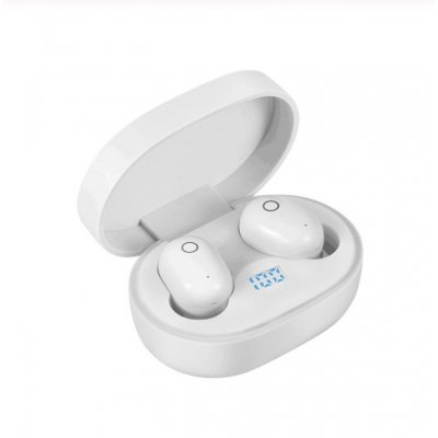 Wireless Earphone for IOS Android Cellphones Bluetooth V5.0 LED Display With Charging Bin Power Bank  white