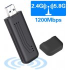 WiFi Adapter 1200Mbps Wireless USB Network Adapter 802.11ac Dual Band 2.4G/5.8G with WPS Connection & Analog AP Function (mini 1200Mbps)  black
